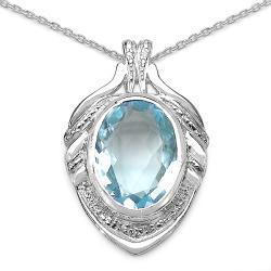 Malaika Sterling Silver Blue Topaz and Diamond Necklace