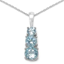 Malaika Sterling Silver Round-cut Blue Topaz Necklace