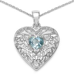 Malaika Sterling Silver Sky Blue Topaz Necklace