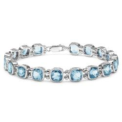 Malaika Sterling Silver Cushion-cut Blue Topaz Link Bracelet