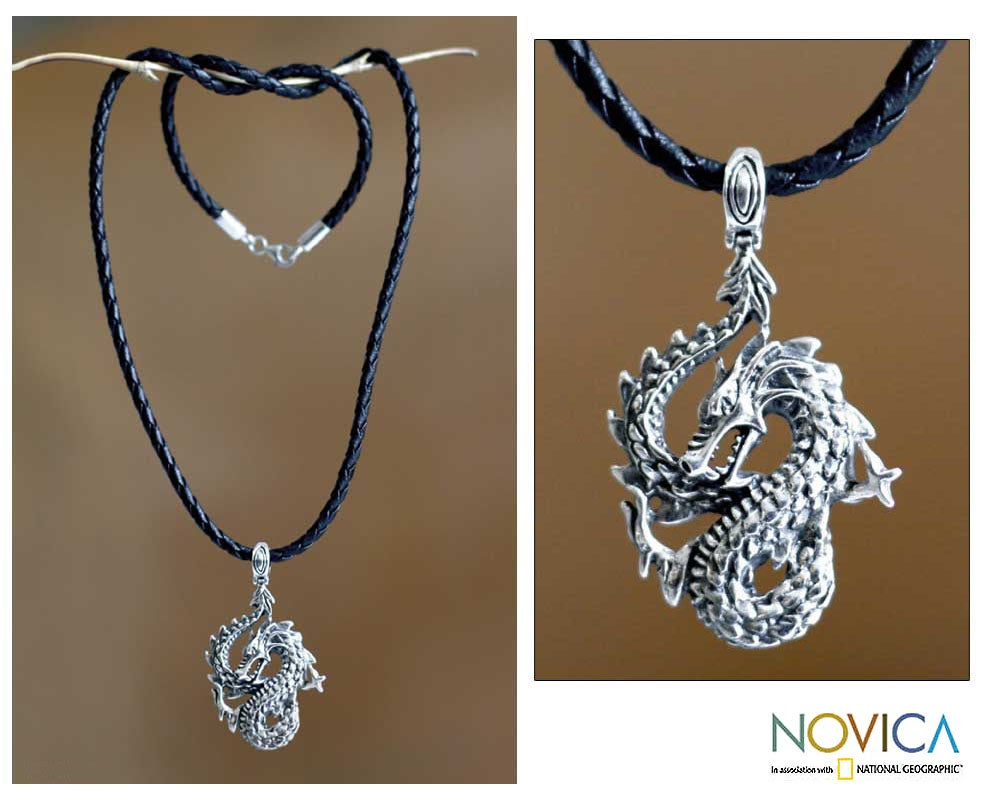 Sterling Silver 'Dancing Dragon' Men's Necklace (Indonesia)