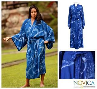 Women's 'Sea of Sapphire' Batik Robe (Indonesia)