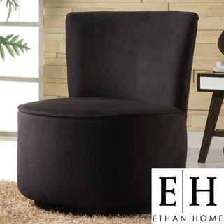 ETHAN HOME Moda Black Microfiber Modern Round Swivel Chair