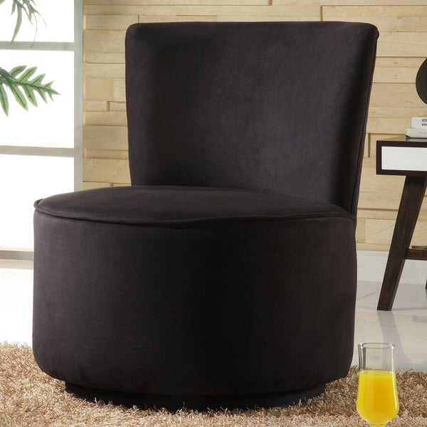 TRIBECCA HOME Moda Black Microfiber Modern Round Swivel Chair