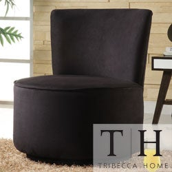 TRIBECCA HOME Moda Black Microfiber Modern Round Swivel Chair