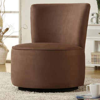 TRIBECCA HOME Moda Brown Microfiber Modern Round Swivel Chair