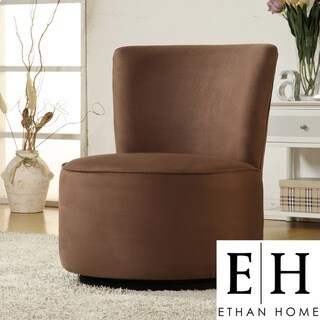 ETHAN HOME Moda Brown Microfiber Modern Round Swivel Chair