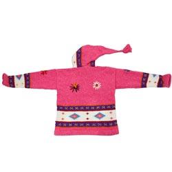 Handmade Garden Girl Pink Wool Sweater (Ecuador)