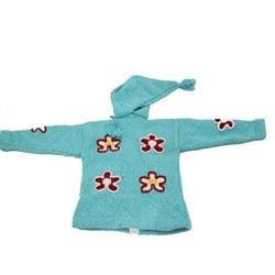 Handmade Garden Girl Turquoise Wool Sweater (Ecuador)