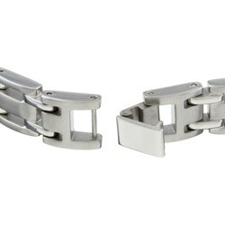 Stainless Steel and 1/2ct TDW Black Diamond Men's Bracelet