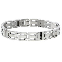 Stainless Steel and 1/2ct TDW Black Diamond Men's Bracelet