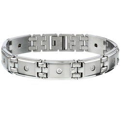 Stainless Steel 1/10ct TDW Diamond Men's Bracelet (I-J, I2-I3)