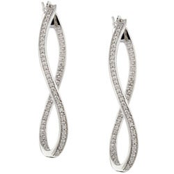 Sterling Silver 1/6ct TDW Diamond Twist Dangle Earrings (H-I, I2-I3)