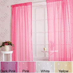 Sheer Velvet Dot Flocking 84-inch Window Curtain Pair