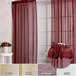 Sheer Linen Mesh 84-inch Window Curtain Pair