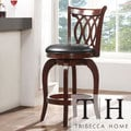 TRIBECCA HOME Verona Cherry Scroll-back Swivel 24-inch Counter Stool