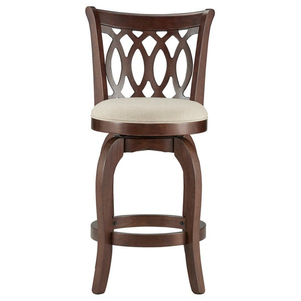 Counter Height Swivel Stools With Backs : HOME Verona Linen Scroll-back Swivel 24-inch Counter Height Stool ...