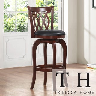 TRIBECCA HOME Verona Cherry Scroll-back Swivel 29-inch Barstool