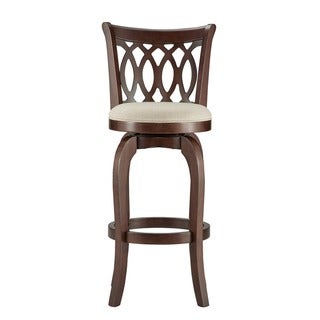 TRIBECCA HOME Verona Linen Scroll-back Swivel 29-inch Bar Height Stool