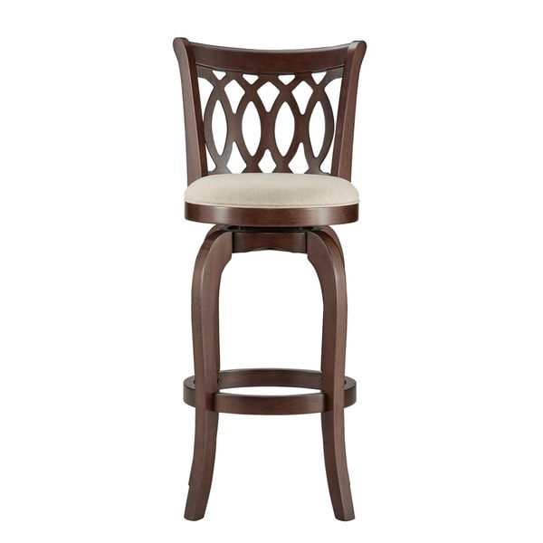 29 Inch Vintage Wood Bar Stool Dining Chair Counter Height: TRIBECCA HOME Verona Linen Scroll-back Swivel 29-inch Bar