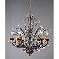 Antique Bronze 6-light Crystal and Iron Chandelier
