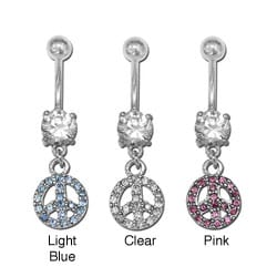 Surgical Steel Crystal Dangling Peace Sign Navel Ring