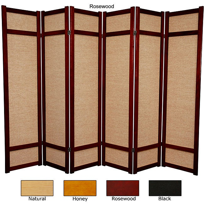 Six foot woven jute six panel decorative room divider china overstock shopping great - Decorative partitions room divider ...