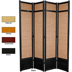 Spruce Wood and Jute 4-panel Room Divider (China)