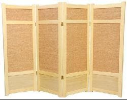 Spruce Wood and Jute 5-panel Room Divider (China)