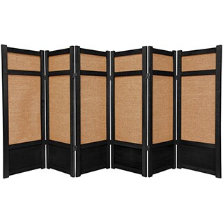 Spruce Wood and Jute 6-panel Room Divider (China)