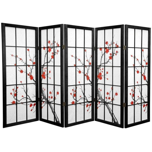 Spruce Wood Cherry Blossom Shoji 5-panel Room Divider (China)