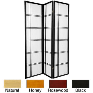 Wood/ Rice Paper 6-foot 4-panel Double Cross Two-sided Screen (China)