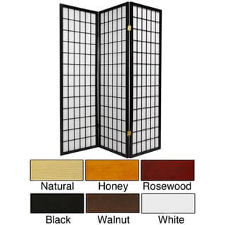 Wood and Rice Paper 5-foot Windowpane Room Divider (China)