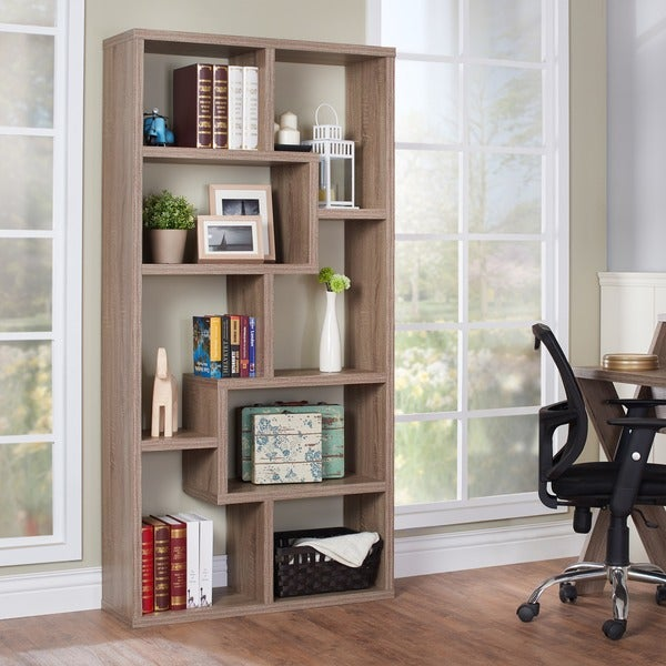 Furniture of america verena contoured leveled display for Furniture of america nara contemporary 6 shelf tiered open bookcase
