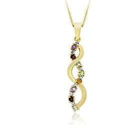 Glitzy Rocks 18k Gold over Silver Multi-gemstone Diamond Accent Pendant