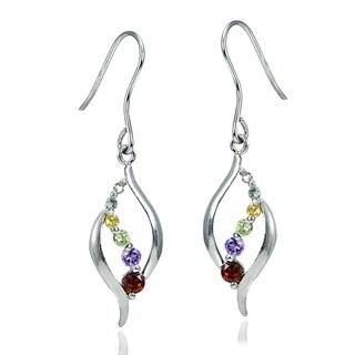 Glitzy Rocks Sterling Silver Multi-gemstone Diamond Accent Journey Earrings