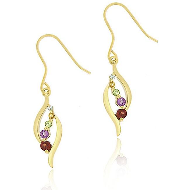 Glitzy Rocks 18k Gold over Silver Multi-gemstone Diamond Accent Earrings