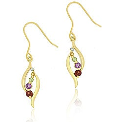 Glitzy Rocks 18k Gold over Silver Multi-gemstone Diamond Accent Earrings