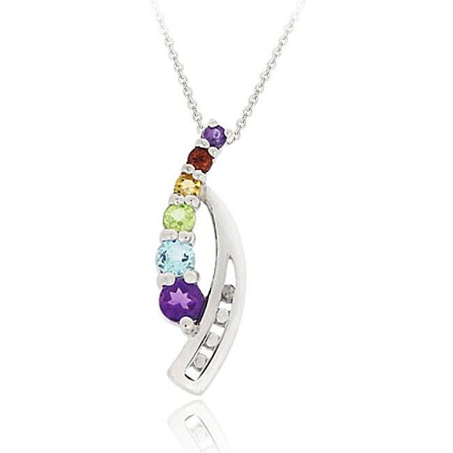 Glitzy Rocks Sterling Silver Multi-gemstone Diamond Accent Journey Necklace