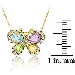 Glitzy Rocks 18k Gold over Silver Multi-gemstone Diamond Butterfly Necklace