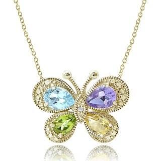 Glitzy Rocks 18k Gold over Silver Multi-gemstone Diamond Butterfly Necklace