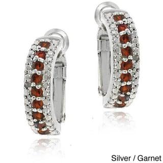 Glitzy Rocks 18k Gold overlay/Silver Gemstone Semi-hoop Earrings