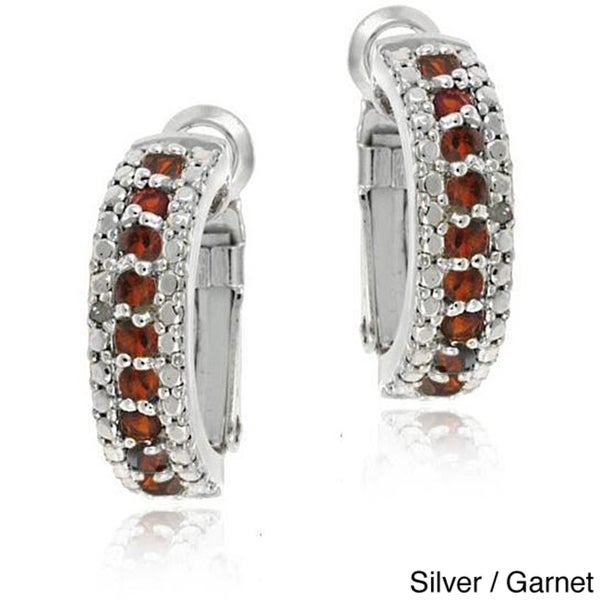 Glitzy Rocks 18k Gold overlay/Silver Gemstone Semi-hoop Earrings