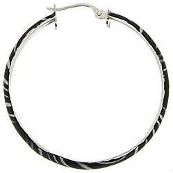 Glitzy Rocks Sterling Silver Zebra Design Hoop Earrings