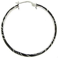 Glitzy Rocks Sterling Silver Zebra Design Hoop Earrings