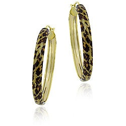 Glitzy Rocks 18k Gold/ Sterling Silver Leopard Hoop Earrings