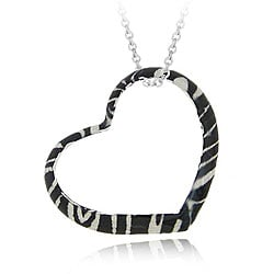 Glitzy Rocks Sterling Silver Heart-shape Zebra Design Necklace