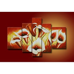 'Flowers' Hand-painted Oil on Canvas Art (Set of 5)