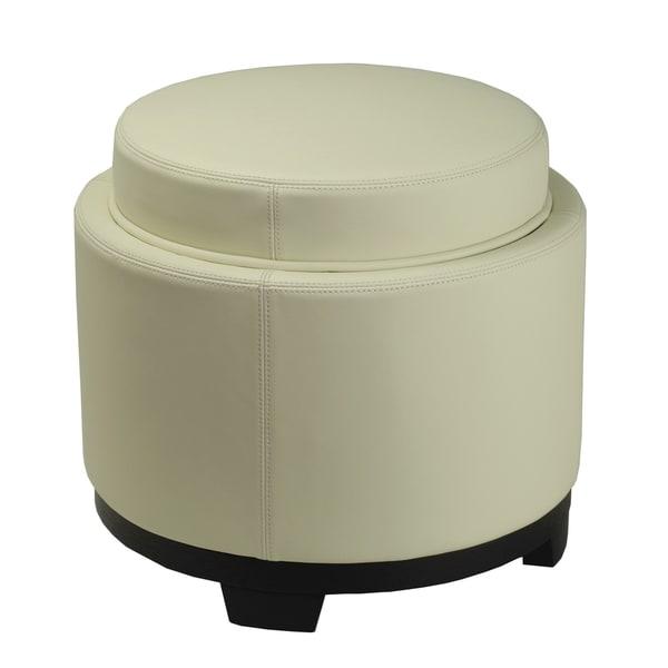 Safavieh Off-white Round Storage Tray Ottoman