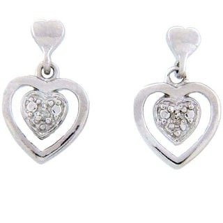 Finesque Sterling Silver Diamond Accent Heart Earrings (J-K, I3)